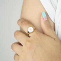 Initial Signet Ring Minimalist Signet Ring Letter Signet