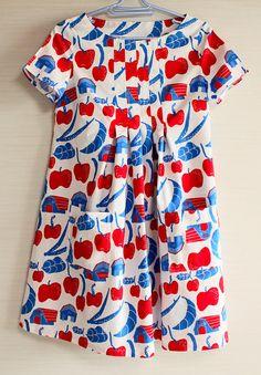 Japanese dress silkscreen-printed cotton tunic dress by Suisai