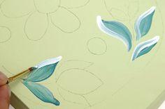 Pintura floral envelhecida