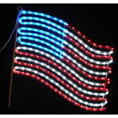 Holiday Lighting Specialists, 24 in. Small US Flag with Red, White and Blue Lights, 10847 at The Home Depot - Mobile