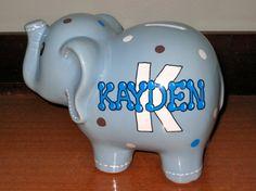 Personalized Ceramic Elephant Bank by ArtworksByAmy on Etsy, $32.00
