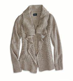 shine knit open cardigan (brown heather, m) <3 $59.95