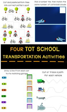 Four activities for your Transportation Tot School Unit: cut/trace, number match, color match, pattern solve Diet Food List, Food Lists, Transportation Unit, Charts For Kids, Unit Plan, School Themes, Tot School, Easy Healthy Breakfast, Toddler Preschool