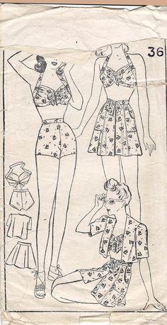 Playsuit or Swimsuit Pattern Style 4710 Overskirt Bolero Bra Top High… Vintage Swim, Style Vintage, 1940s Style, Vintage Sewing Patterns, Clothing Patterns, Marfy Patterns, Dress Patterns, 1940s Fashion, Vintage Fashion