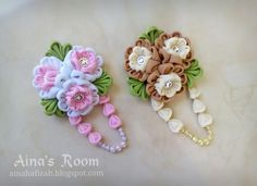 Pinky and Ivory Fabric Flower Brooches (used as headpiece on hijab)