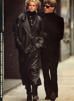 Perfect Pair: Great Leather/Great Coats Photo Hans Feurer  Models Ashley Richardson US VOGUE September 1985
