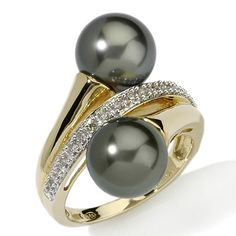 9-9.5mm Cultured Tahitian Pearl & Diamond 14K Double Wrap Ring