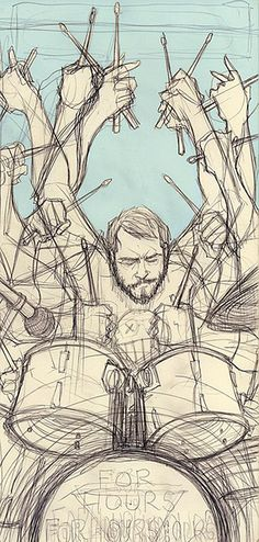 time lapse drawing of a drummer