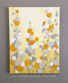 Mustard Yellow and Gray Abstract Flower Art Textured Acrylic