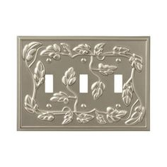Amerelle Leaf 3 Toggle Wall Plate - Satin Nickel-85TTTN - The Home Depot