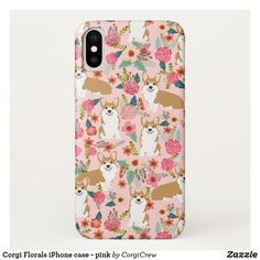Corgi Florals iPhone case - pink