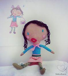 Sabutuca ♥   Bonecos feitos a partir de desenhos das crianças. Ótima ideia!