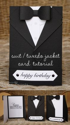 masculine suit - tuxedo birthday - fathers day card with templates & tutorial link using Stampin' Up supplies. By Di Barnes #colourmehappy #stampinup #makesomething