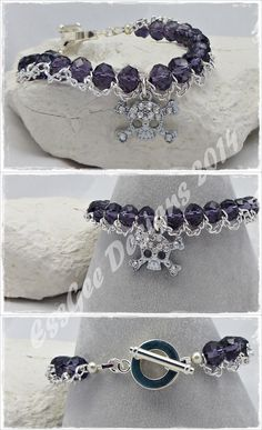 Bracelet - crystals with chain and rhinestone skull charm