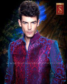 Groom Sherwani, Indian groom wear, blue sherwani, indo western, designer wedding wear www.statusindiafashion.com