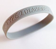 Type 2 Diabetes Medical ID Alert Silicone Bracelet Gray Awareness Color Diabetic for only $10.95