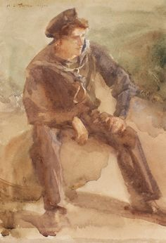 TUKE Henry Scott R.A. R.W.S. N.E.A.C. (1857-1929) Study of Harry Cleave. Watercolour. 10x7 inches. Signed and dated, 1903.