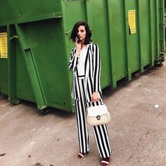 Stripe suit via @huesofwhite