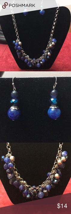 Blue beaded necklace and earring set Super cute beaded necklace and earring set with multi colored blue beads with silver tone accents.  Beaded include some stone accents too! Jewelry Necklaces