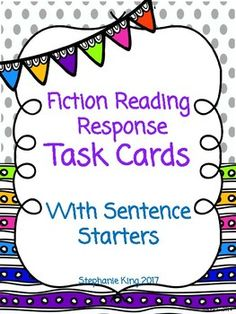 I developed this product to encourage my students to give complete sentences when answering questions orally and written.  To use this product cut and laminate cards.Teacher should model answering questions and giving appropriate grade level response.Task cards can be used during partner reading, book clubs, small groups, or homework.