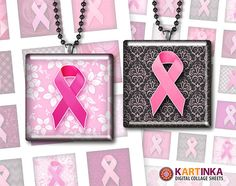 Instant Download BREAST CANCER AWARENESS  1x1 inch by KARTINKAshop