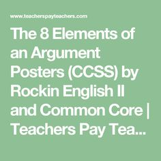 The 8 Elements of an Argument Posters (CCSS) by Rockin English II and Common Core | Teachers Pay Teachers