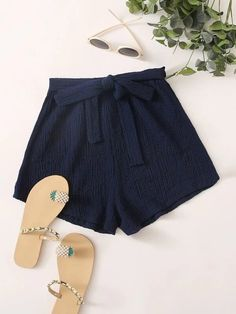 ((Affiliate Link)) Description Style:	Casual Color:	Navy Pattern Type:	Plain Details:	Belted Type:	Wide Leg Season:	Summer Composition:	60% Cotton, 40% Polyester Material:	Cotton Fabric:	Slight Stretch Sheer:	No Fit Type:	Loose Waist Type:	High Waist Closure Type:	Elastic Waist Belt:	Yes
