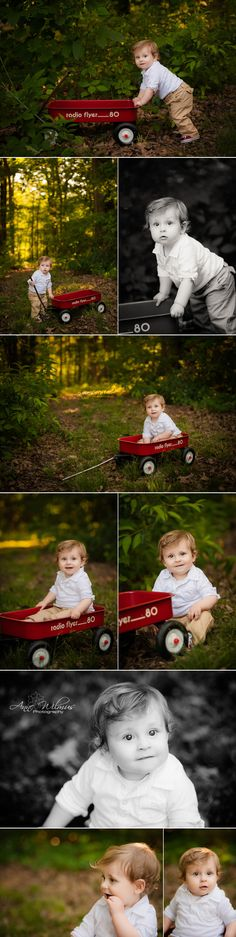 1 year old photos with red wagon