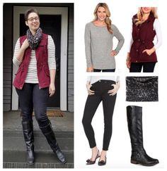 Stripes + leopard with a cargo vest | Grey + burgundy