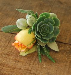 succulent and rose boutonniere by dandy bread and candy, via Flickr