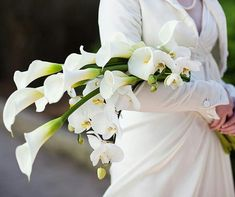 BEAUTIFUL Arm Sheaf/Presentation Wedding Bouquet Showcasing: White Calla Lilies & White Phalaenopsis Orchids + Buds••••