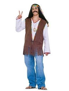 Mens Adult Hippie Vest Costume   Cheap 60s Costumes Halloween Costume for Mens Costumes