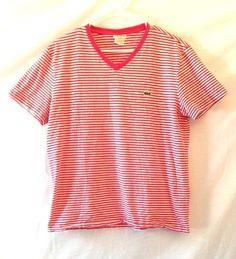 Lacoste V Neck T-Shirt Short Sleeve Pink Striped Size 5 #Lacoste #BasicTee