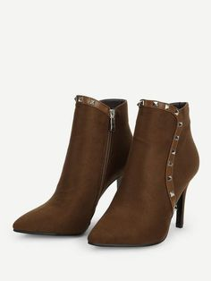 cb9fc79368e32 Suede Leather Pointed Toe Ankle Boots With Rivet Detail Pointed Ankle  Boots, Pointed Toe Heels