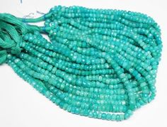 Green Amazonite Faceted Rondelle Loose Gemstone Bead Strand - 14 inches - 5mm