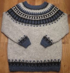 Icelandic traditional natural wool sweater. Hand knitted by Thora M. Sigurdar. - Wool fiber artist.