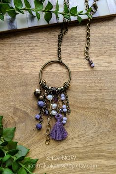 Tassel Necklace Boho Necklace Chain Necklace Purple Necklace Pendant Necklace Long Necklace Everyday Necklace Ethnic Necklace Gift for her #purplenecklace #tasselnecklace #bohotasselnecklace #hippienecklace #bohemianjewelry