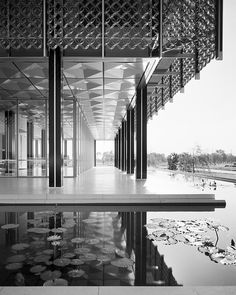 From the book 'Balthazar Korab: Architect of Photography' by John Comazzi. Photo shows the Great Lakes Regional Headquarters of the Reynolds Metals Company by Minoru Yamasaki, ca.1960.