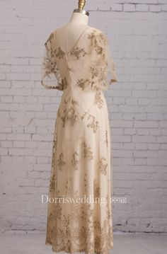 Sheath With Illusion Butterfly Sleeves V Back Goldline Embroidery Brush Train Dress - Dorris Wedding Mother Of Bride Outfits, Mothers Dresses, Bohemian Wedding Dresses, Dream Wedding Dresses, Boho Bride, Lace Weddings, Boho Wedding, Rustic Wedding, Wedding Gowns