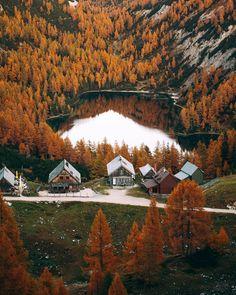 Austria, Cabin, Adventure, Mountains, Sunset, House Styles, Nature, Fall, Autumn