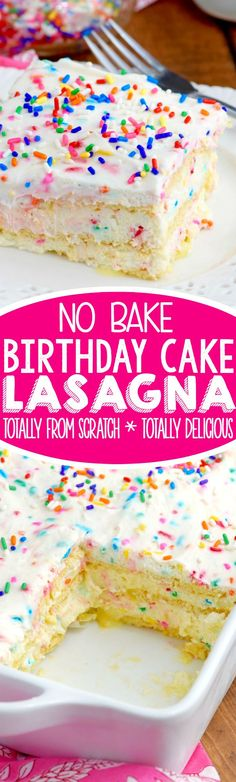 This No Bake Birthday Cake Lasagna is the perfect dessert! Full of delicious cake flavor in the form of a creamy no bake dessert! #dessert_lasagna_recipes
