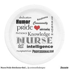 Nurse Pride-Attributes+Red Heart 9 Inch Disposable Party Paper Plates.  Designed by avisnoelledesigns.
