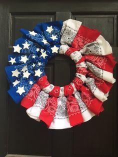 Red, White and Blue-ti-ful/ Bandana Wreath Bandanas, Wreath