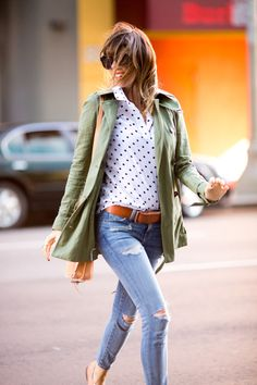 army green + polka dots shirt