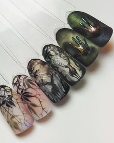 Crazy dimension in this set Halloween Nail Designs, Halloween Nail Art, Autumn Nails, Winter Nails, French Nails, Fun Nails, Pretty Nails, Deer Nails, Holloween Nails