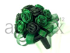 Green and Black flax flower wedding posy with authentic Hapene flax foliage by Artiflax