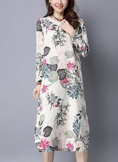 Latest fashion trends in women's Dresses. Shop online for fashionable ladies' Dresses at Floryday - your favourite high street store. Printed Linen, Cotton Linen, Latest Fashion Trends, Dresses Online, Casual Dresses, Style Inspiration, Elegant, My Style, Long Sleeve