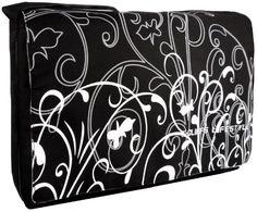 Black White Fleur 15.4 inch Laptop Bag