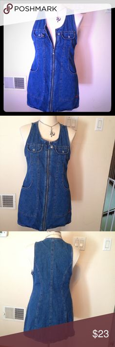 Squeeze Jeanswear dress, HOT. Zip front  25 Jean dress w zip front super sexy! Smoke free home size large Squeeze Jeanswear  Dresses Mini