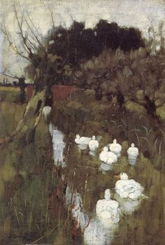 A Lincolnshire Stream (oil on canvas; 1882) | Joseph Crawhall
